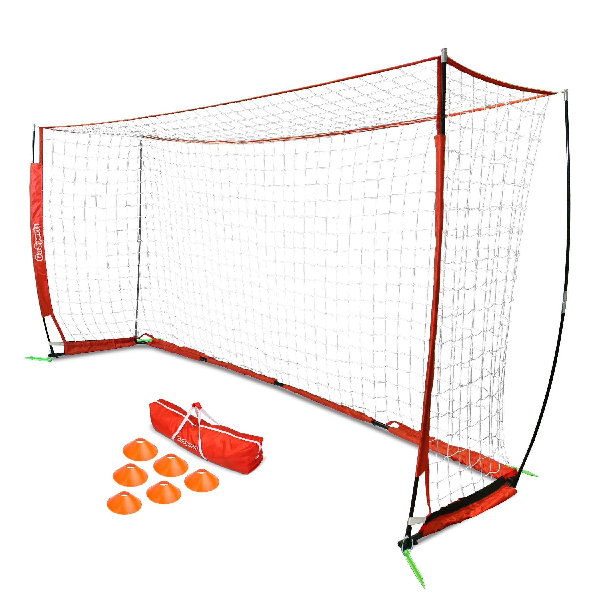 GoSports 12' ELITE Foldable Soccer Goal Net - Includes 1 12'x6' Goal, 6 Training Cones & Portable Carrying Case