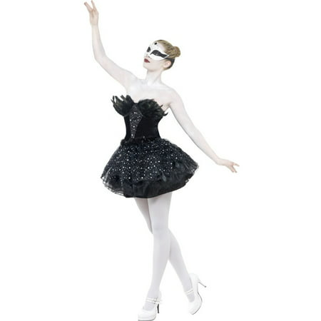Womens  Gothic Black Swan Masquerade Balet Dance Dress Costume