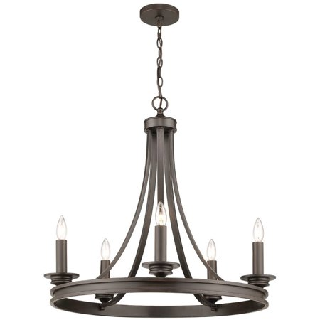 Beaumont Lane 5 Light Steel Candle Chandelier in Rubbed -