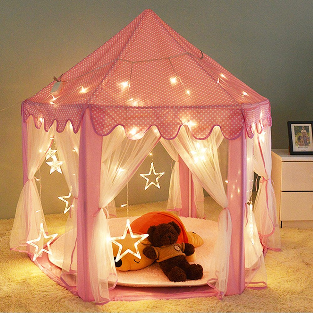 Pink Princess Castle Play Tent for GirlsKids Play Tent With Star LED Lights Indoor and Outdoor (Princess Tent) - Walmart.com & Pink Princess Castle Play Tent for GirlsKids Play Tent With Star ...