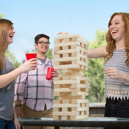 Nontraditional Giant Wooden Blocks Tower Stacking Game, Outdoor Yard Game, For Adults, Kids, Boys and Girls by Hey! Play!