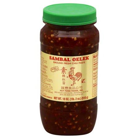 (3 Pack) Huy Fong Foods Sambal Oelek Ground Fresh Chili Paste, 18 oz (Halloween Food Name For Chili)