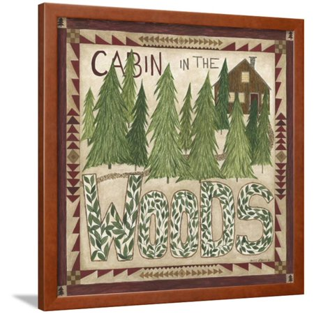 Cabin in the Woods Framed Print Wall Art By Cindy Shamp - Painting Cabin In The Woods