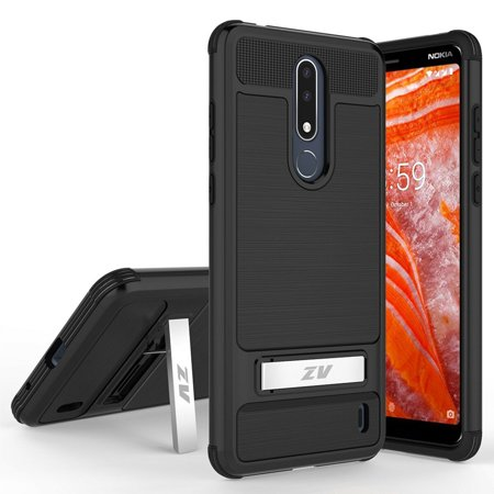 Tech Case - Kaleidio Case For Nokia 3.1 Plus [Tech Armor] 2-Piece Brushed Metal Texture Dual Layer [Shockproof] Impact Kickstand Cover w/ Overbrawn Prying Tool [Black/Black]