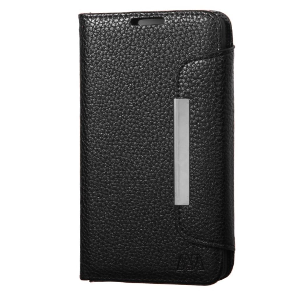 Insten Flip Leather Wallet Fabric Case with Lanyard For LG Optimus F60 - Black - image 1 of 3
