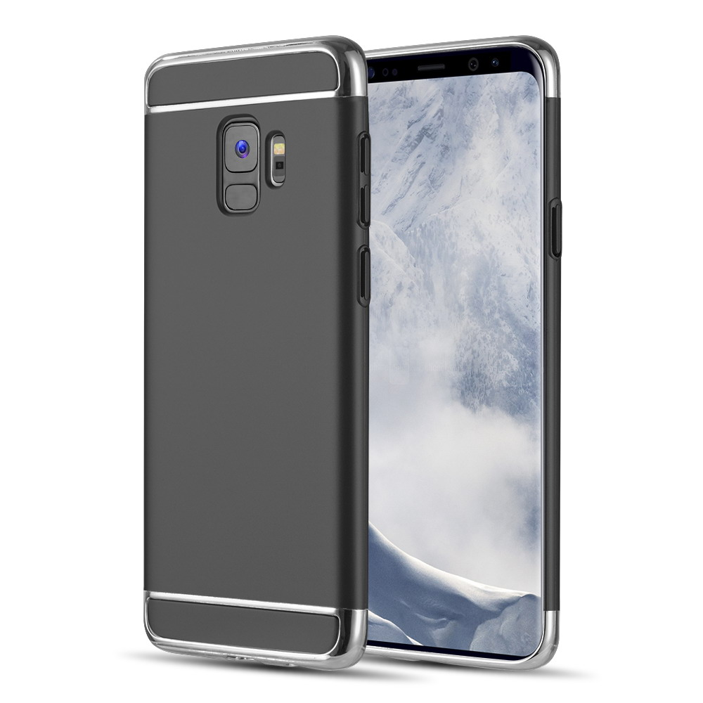 Luxmo Case for Galaxy S9 Griptech 3-Piece Rubber Protective Case With Silver Chrome Frame - Black