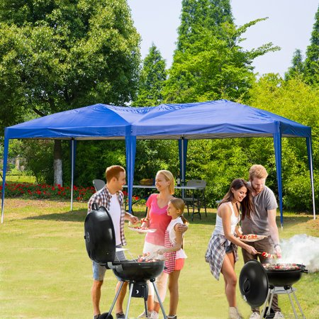 Erommy 10 x 20 ft Outdoor Pop Up Canopy Tent Portable Foliding Pavilion Gazebo with Carry Bag,Blue