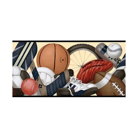 879258 Sports Balls Equipment Wallpaper Border Book Name: Instant Replay Pattern # : BR4338b Border Width: 10.25 inches wide by 15 feet long Design Repeat: 20.5 inch pattern repeat Prepasted: Yes CLEARANCE! QUANTITIES LIMITED!