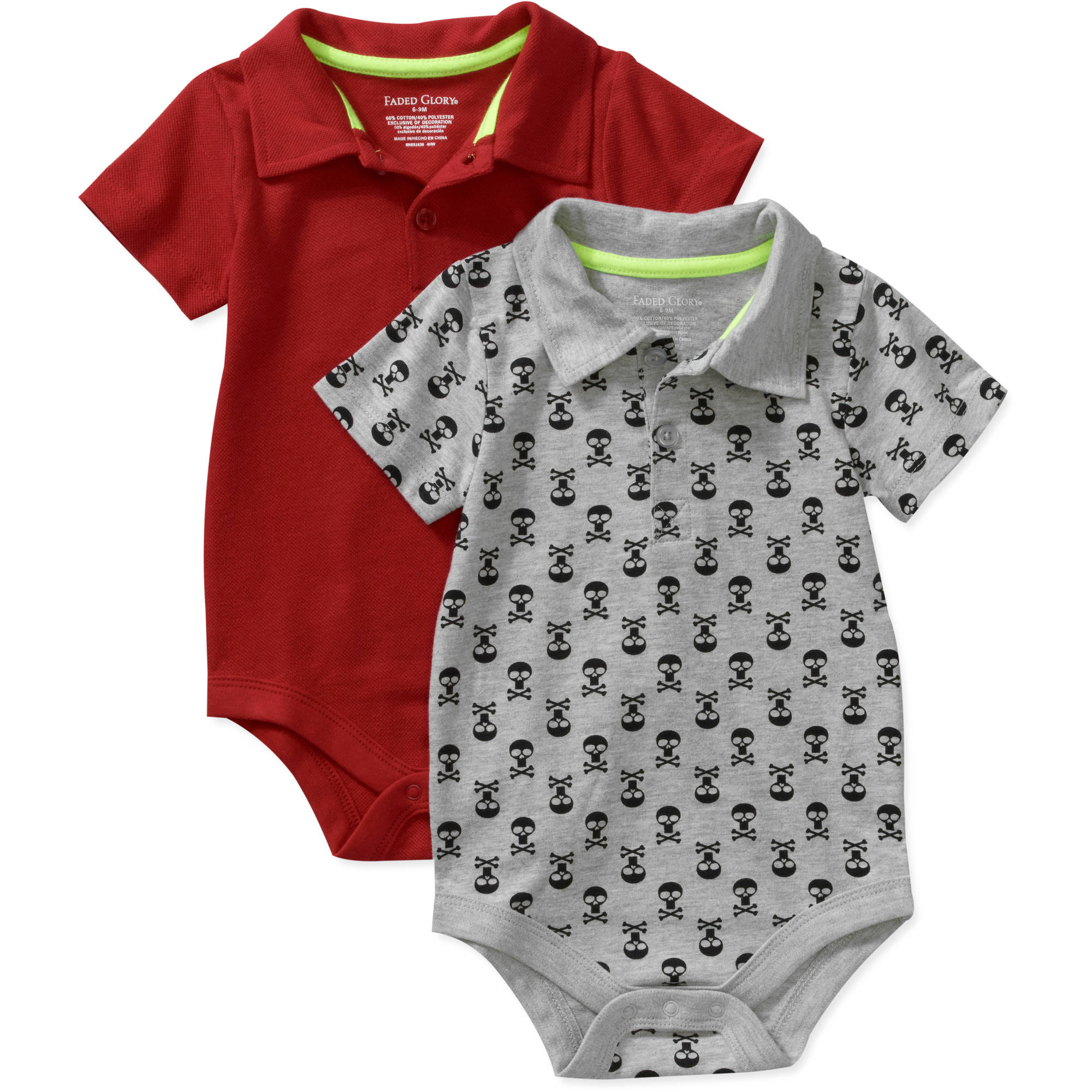 Faded Glory Newborn Boys' 2 Pack Polo Creeper Set