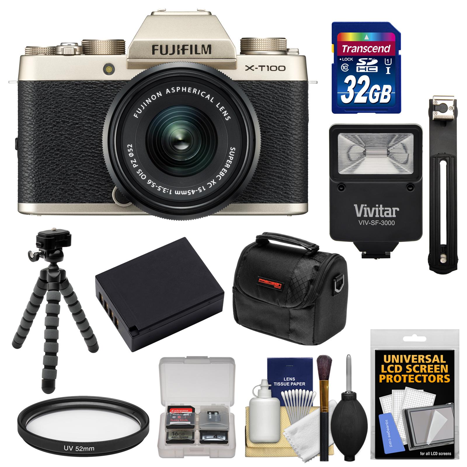 Fujifilm X-T100 Digital Camera & 15-45mm XC OIS PZ Lens (Champagne Gold) with 32GB Card + Battery + Tripod + Flash + Case + Kit