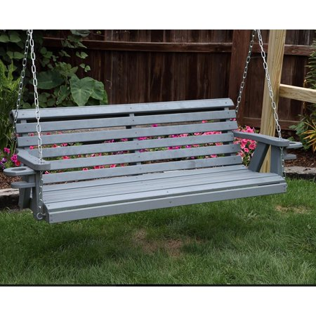 Outdoor Garden Lawn Patio Gray Finish 5 FT Amish Heavy Duty 800 Lb Roll Back Porch Swing With Cupholders