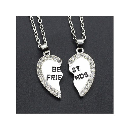 2pcs Crystal Half Love Heart Pendant Best Friends Necklace Friendship Gift - - Crystal Open Heart Pendant