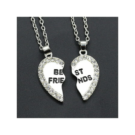 2pcs Crystal Half Love Heart Pendant Best Friends Necklace Friendship Gift - Silver