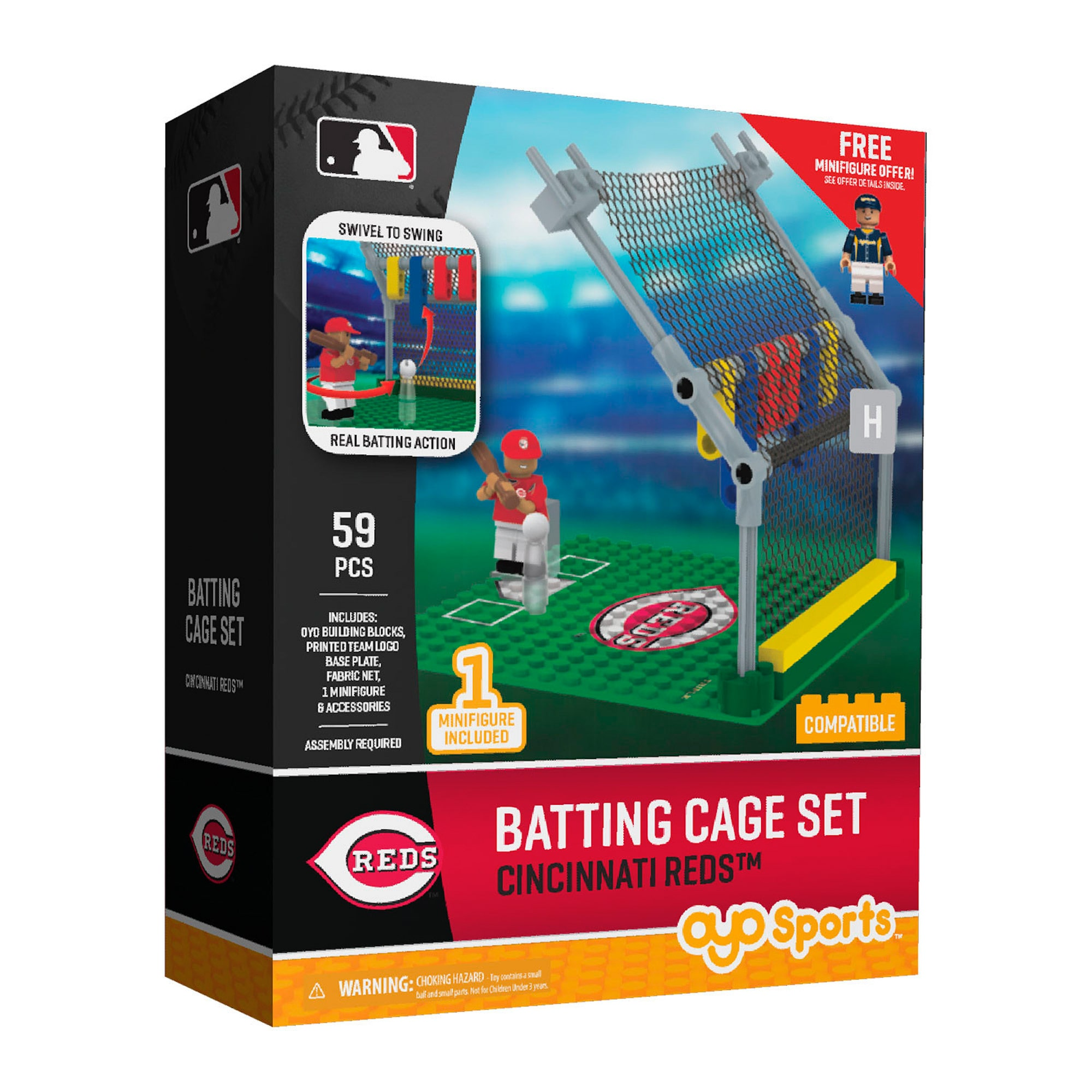 OYO Sports MLB Batting Cage Building Block Set, Cincinnati Reds by OYO Sportstoys, Inc.