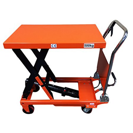- CasterHQ - MIGHTY LIFT LT1100 HYDRAULIC SCISSOR LIFT TABLE - HEAVY DUTY FOLDING - 1,100 LB LIFT TABLE - PREVENT BACK INJURIES, STRAIN, AND INCREASE PRODUCTIVITY
