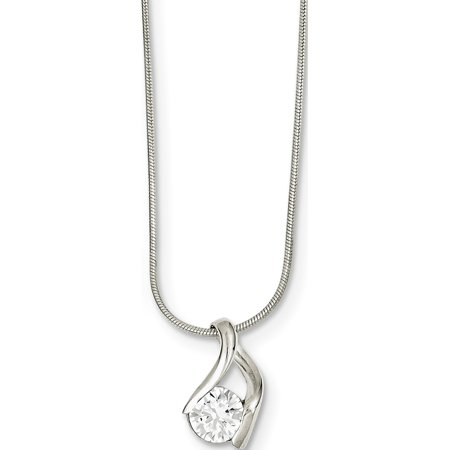 925 Sterling Silver CZ & Chain Pendant / Charm - image 2 of 2