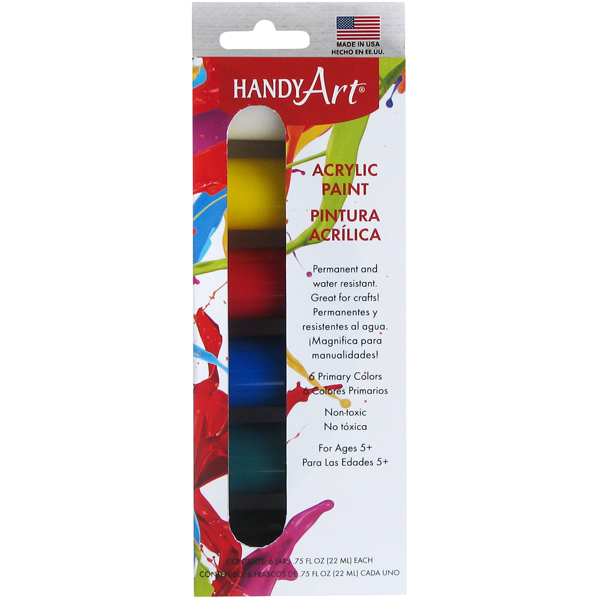 Handy Art Acrylic Paint Kit .75oz 6/Pkg-Primary