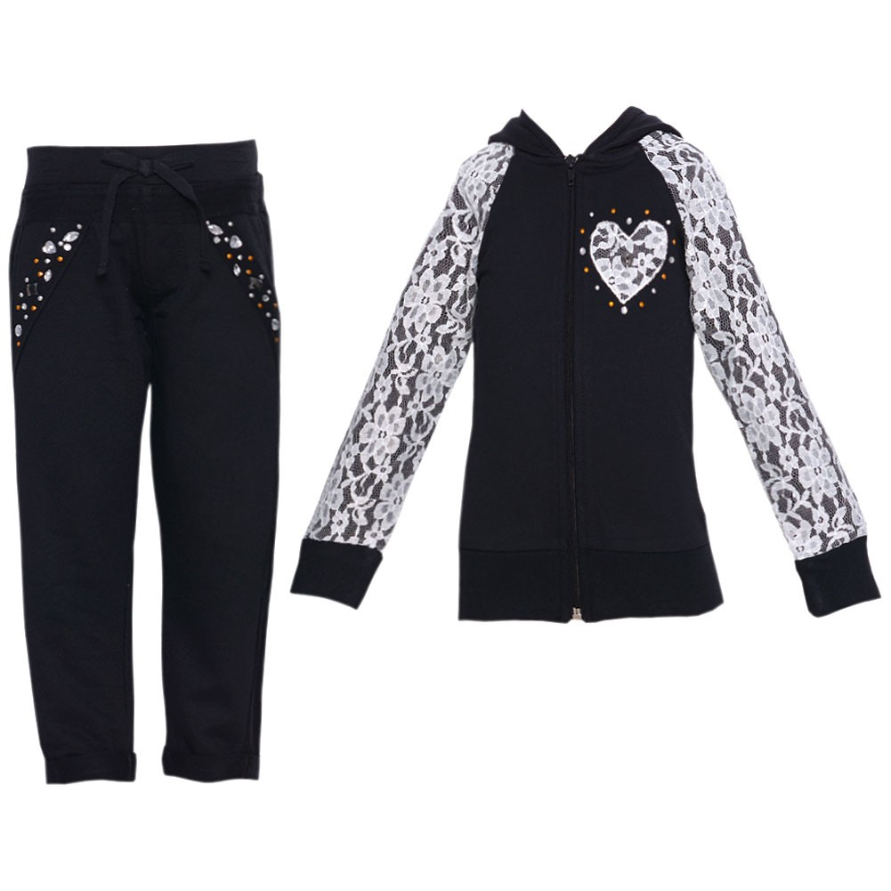 Little Girls Black Lace Detail Stud Hooded Top 2 Pc Pant Set 4