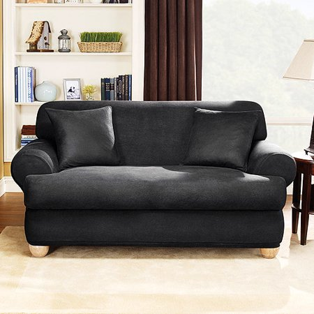 Stretch Leather 2 Piece T Cushion Loveseat Slipcover Ebony