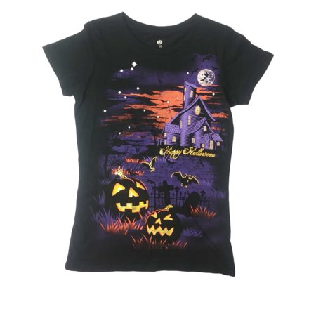 Womens Black Haunted House Happy Halloween Tee Full Moon Pumpkin - Sailor Moon Happy Halloween