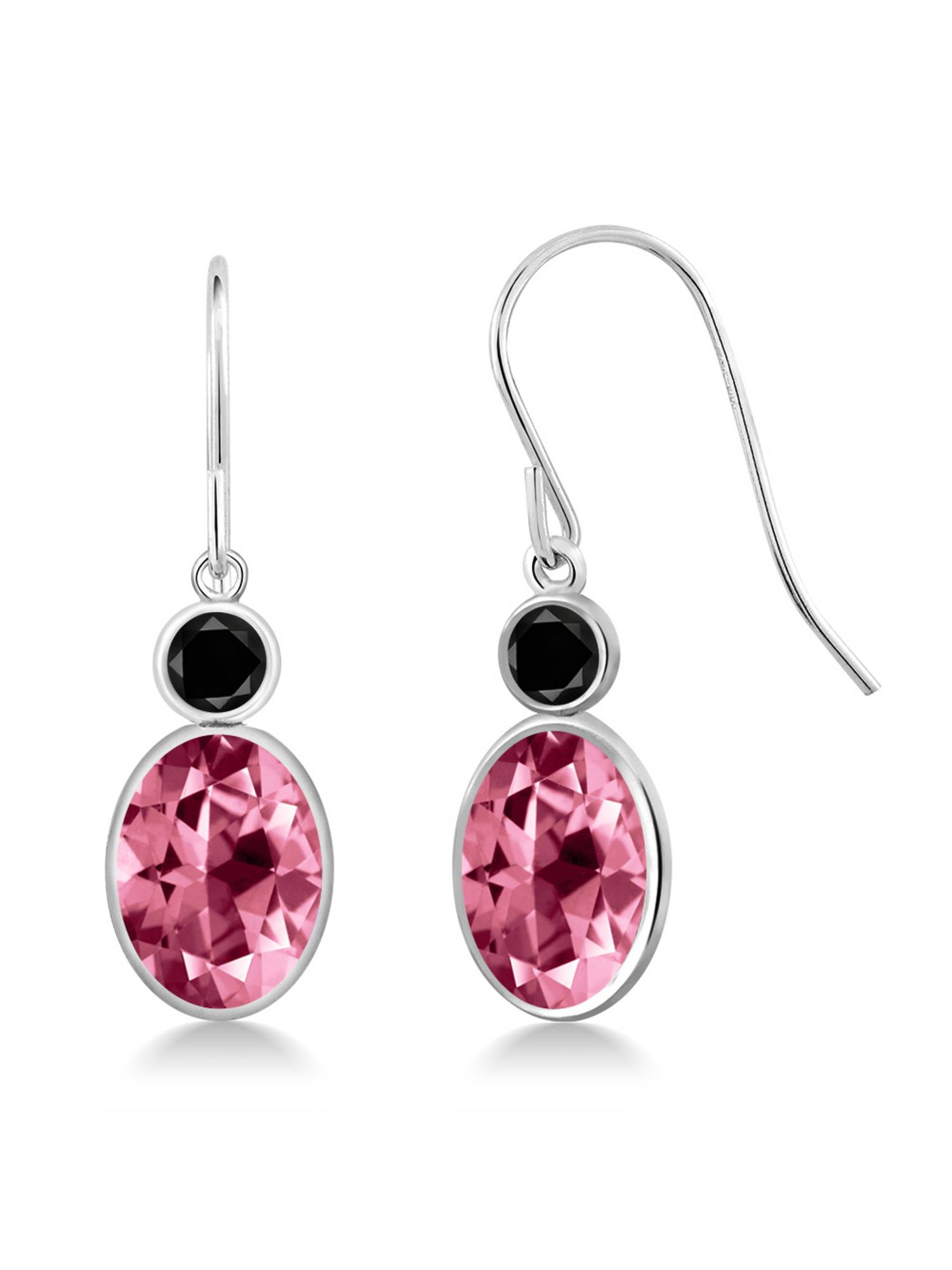 14K White Gold Diamond Earrings Set with Oval Pink Topaz from Swarovski by