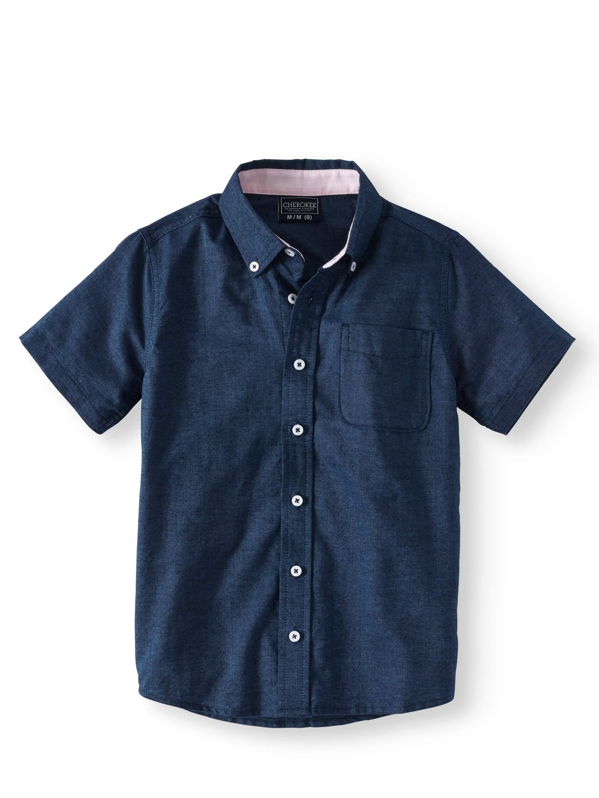 Boys' Short Sleeve Button Front Oxford Shirt