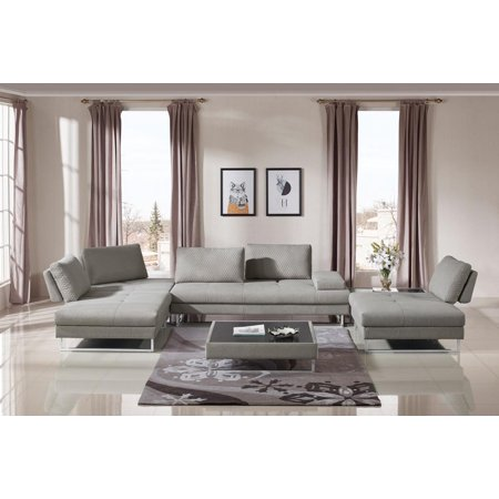 VIG Divani Casa Baxter Grey Fabric Sectional Sofa Coffee Tables 3Ps (Baxter Sofa)