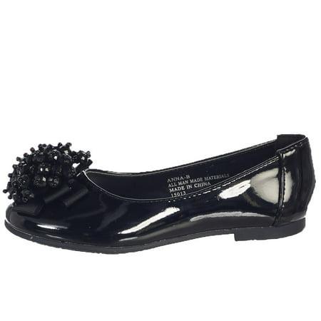Girls Black Crystal Bead Bow Anna Occasion Dress Shoes Kids 11-4 (Girl Dress Shops)