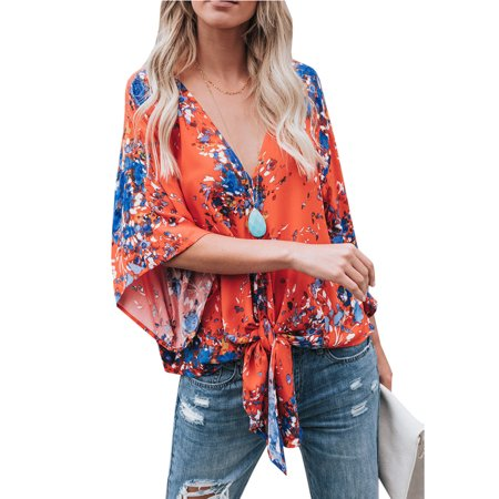 Women 3/4 Sleeve Print Blouse Tie Front Tops