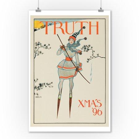 Truth - X - Mas '96 Vintage Poster (artist: Haskell) USA c. 1896 (9x12 Art Print, Wall Decor Travel - Vintage Miriam Haskell