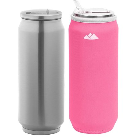 Collectible Beer Bottles - Wealers Double Wall Stainless Steel Water Bottle Vacuum Insulated Straw Tumbler Beer Can Size 17oz with Neoprene Sleeve
