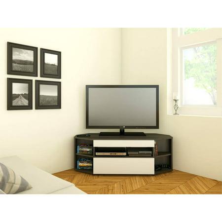Nexera Allure Ebony/White Corner TV Stand for TVs up to 48″