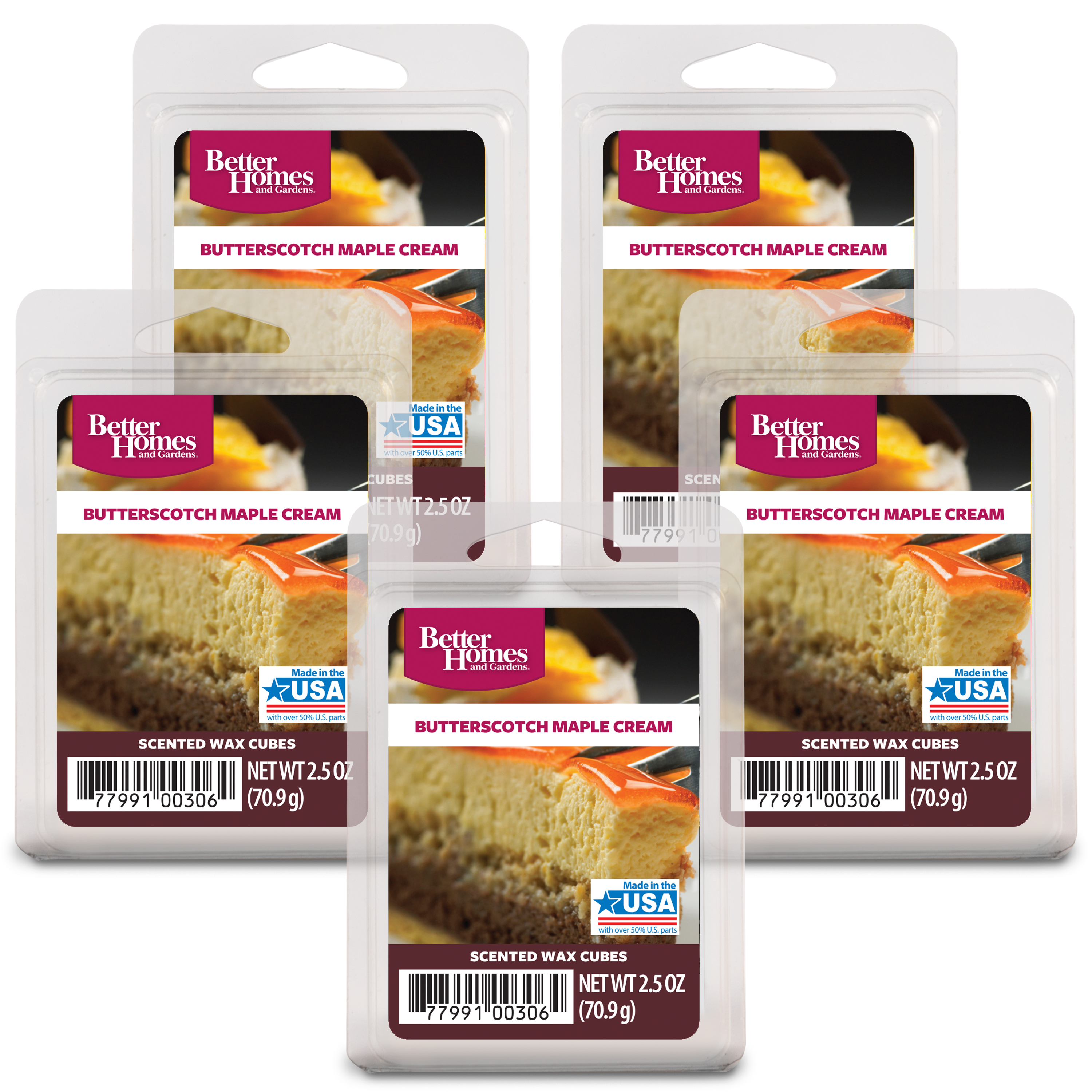 Better Homes and Gardens Wax Cubes, Butterscotch Maple, 5-Pack