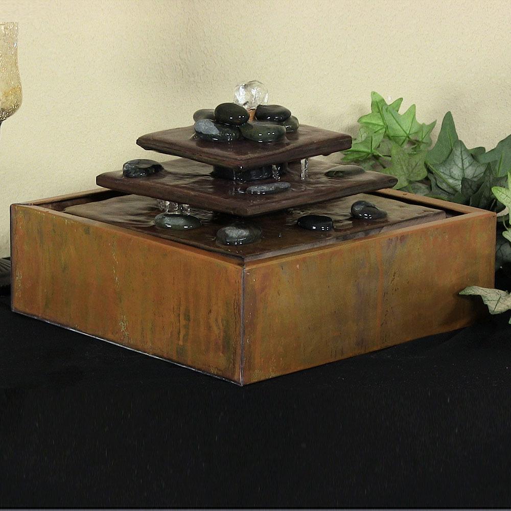 Sunnydaze Cascading Pyramid Tiered Tabletop Indoor Fountain with Decorative Rocks by Sunnydaze Decor