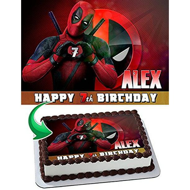 Super Deadpool Cake Edible Image Cake Topper Personalized Birthday 1 4 Funny Birthday Cards Online Elaedamsfinfo