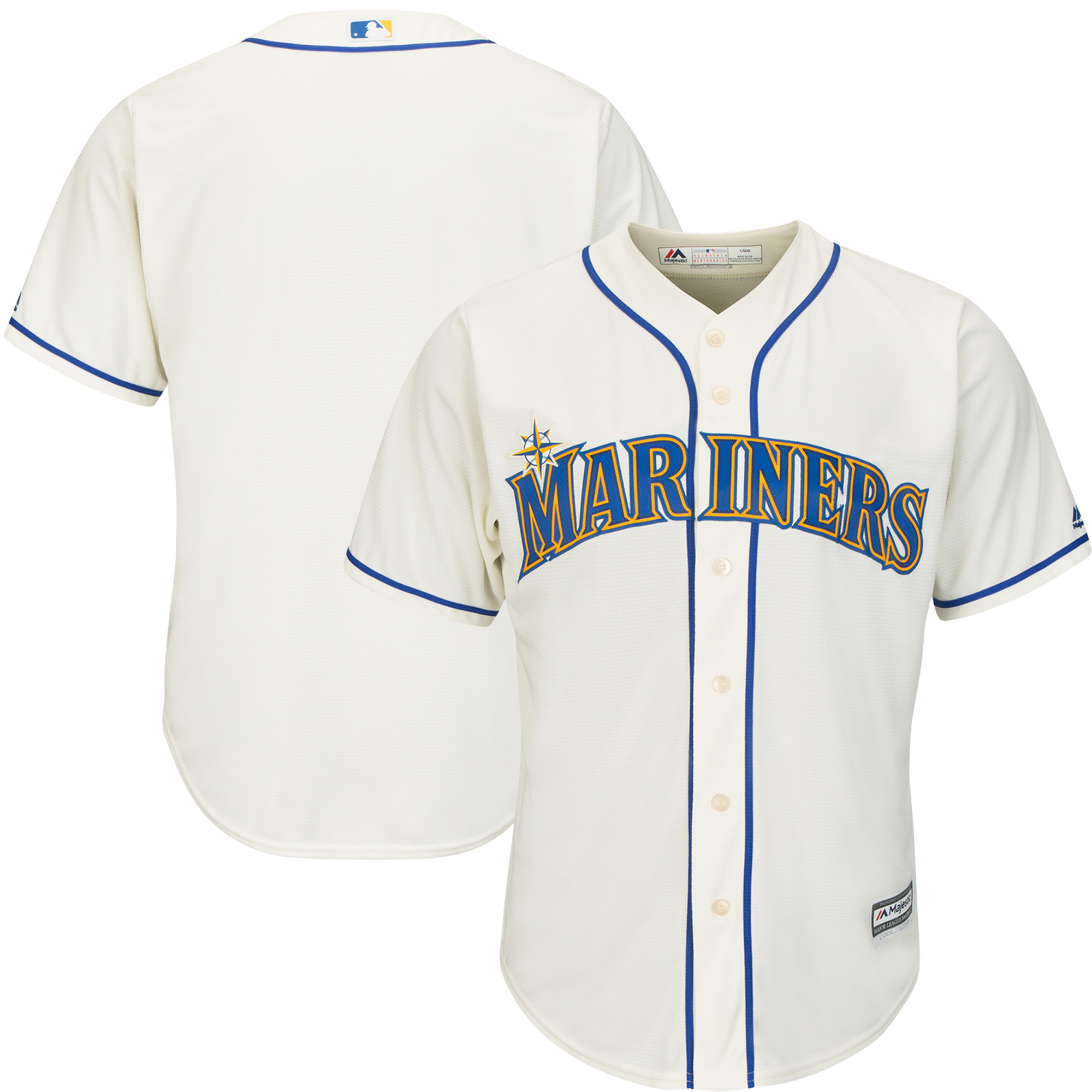 Seattle Mariners Majestic Official Cool Base Jersey - Cream