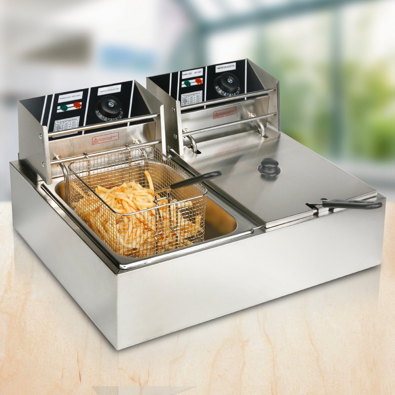 Uenjoy 2-6 Dual Tanks Commercial Tabletop Fryer Electric ...