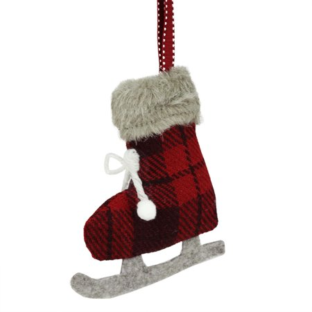 55 red and black plaid plush knit ice skate christmas ornament