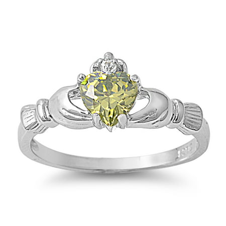 Claddagh Benediction Simulated Peridot Cubic Zirconia Ring Sterling Silver 925 Size 10