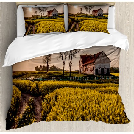 Country Home King Size Duvet Cover Set  Old Abandoned Rural House Floral Meadow Idyllic Village Pastoral Landscape  Decorative 3 Piece Bedding Set With 2 Pillow Shams  Multicolor  By Ambesonne