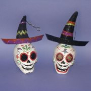 "Pack of 6 Glittered Mariachi Skull Head Halloween Ornaments 6.5"""
