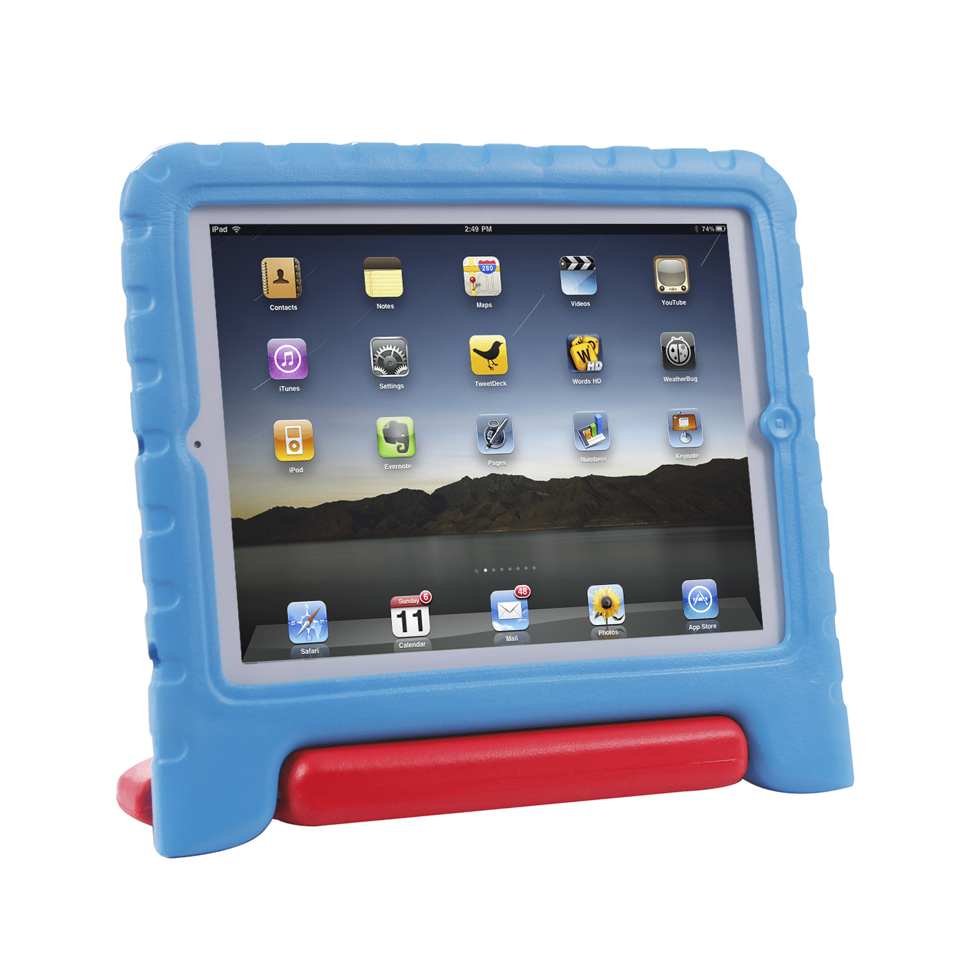 HDE iPad 2 3 4 Case for Kids - Rugged Heavy Duty Drop Proof Children Toy Protective Shockproof Cover Handle Stand for Apple iPad 2 3 4 (Blue & Red)