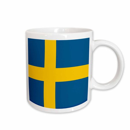 3dRose Flag of Sweden - Swedish blue and golden yellow Nordic Scandinavian Cross gold Scandinavia world - Ceramic Mug, 11-ounce