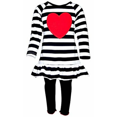 Kids Valentines Outfits (Unique Baby Girls Striped Heart Valentine's Day 2 Piece Outfit)