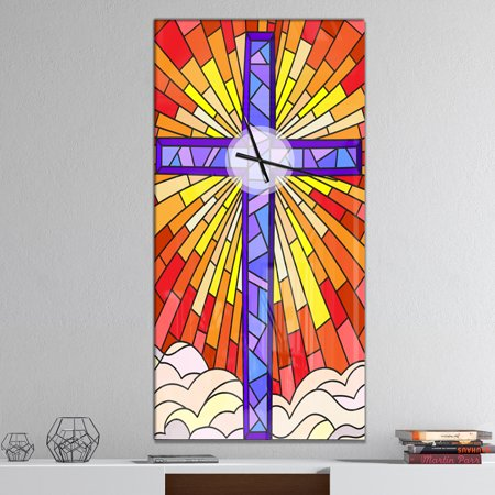 DesignArt Holy Cross Stained Glass Style Large Wall Clock - image 2 of 2
