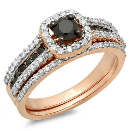 1.00 Carat (ctw) 18K Rose Gold Round Black And White Diamond Ladies Bridal Halo Style Engagement Ring With Wedding Band (Black Gold And White Wedding)