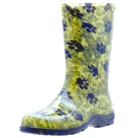 Sloggers Women\'s Rain and Garden Boot Paw Print Green - Walmart.com