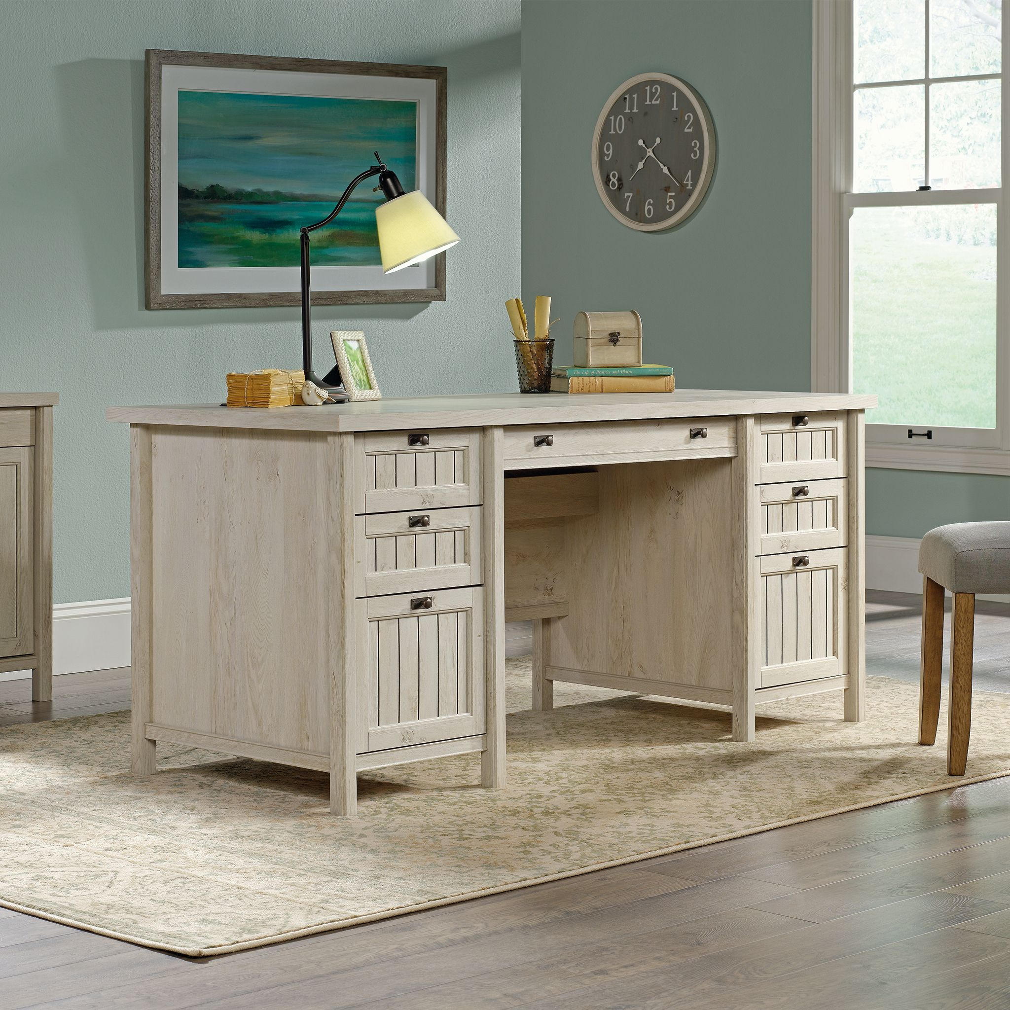 Sauder Costa Executive Desk, Chalked Chestnut Finish