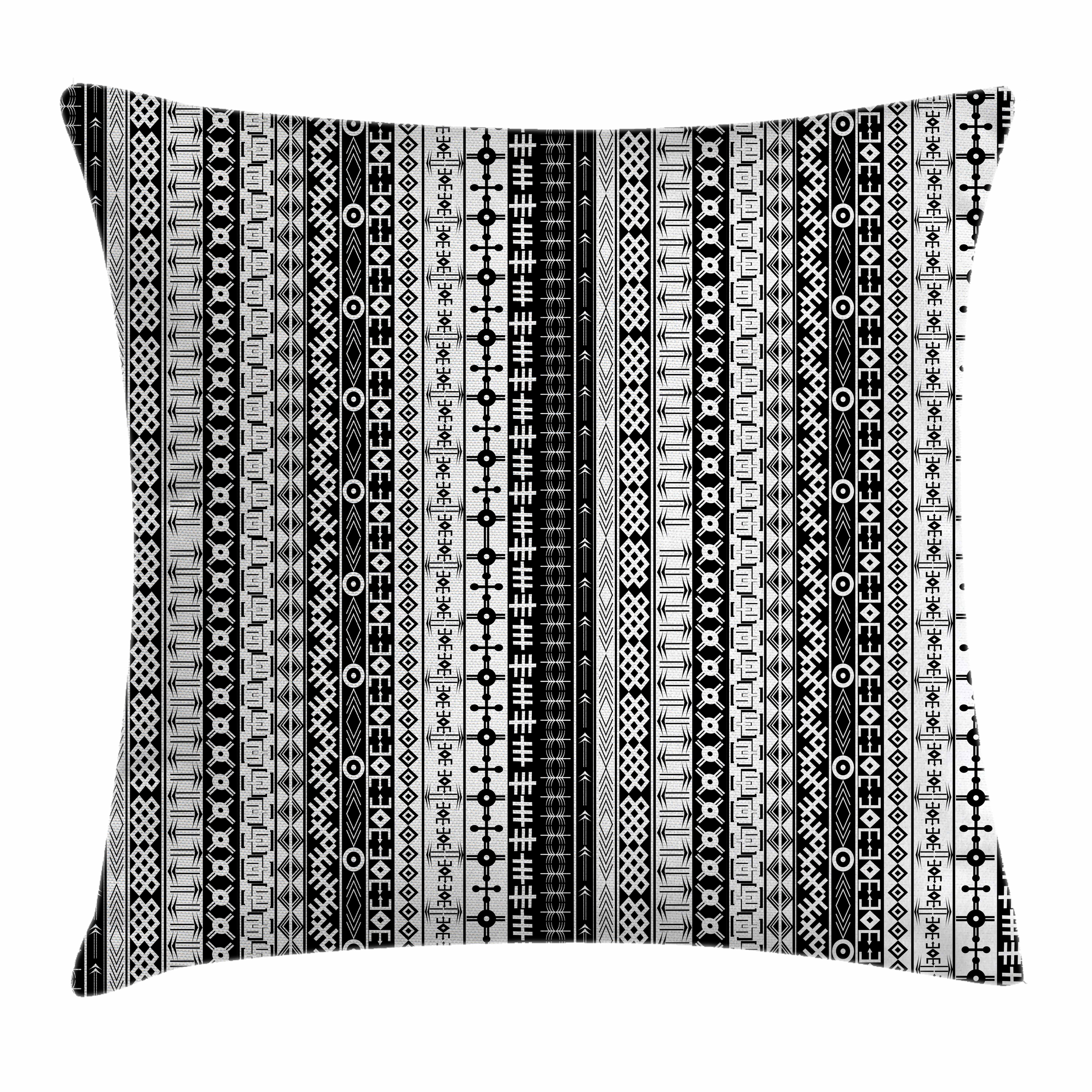 Primitive Decor Throw Pillow Cushion Cover, Black and White African Tribal Motifs Native Artistic Geometric Borders, Decorative Square Accent Pillow Case, 24 X 24 Inches, Black White, by Ambesonne