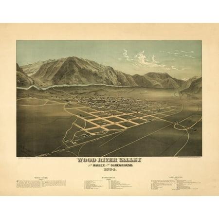 Old Map of Hailey Idaho 1884 Blaine County Canvas Art -  (24 x 36)